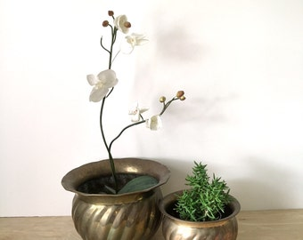 Vintage Set of Swirled Brass Planter Pots - Large and Small Size