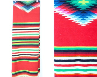 Vintage Retro Bright Red Wall Tapestry Hanging Aztec Southwest