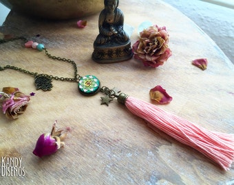 Ohm Om Tassel Necklace. Mandala Necklace. Hamsa Hand Necklace. Yoga Necklace. Boho bohemian Necklace. Meditation Necklace Spiritual Necklace