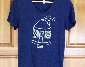 Yurt Shirt - Women's Fitted TRI BLEND Track T Shirt - S M L XL - Hand Screen Printed On American Apparel