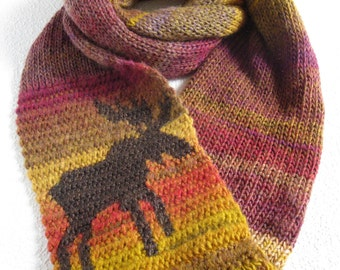 Moose Scarf. Wool blend, knit infinity scarf with a bull moose silhouette. Long cowl scarf.  Animal scarves
