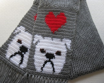 Knit Bulldog Scarf.  Gray knitted scarf with white English bulldogs and red hearts.
