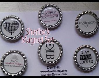 Sherlock Bottlecap Magnet Set, BBC Inspired