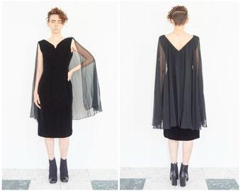 50s Black Velvet Party Dress w/ Sheer Cape / Size Medium