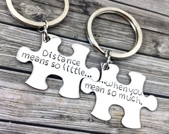 Boyfriend Gift, Long Distance Relationship, Couple Keychain, Distance Means So Little When You Mean So Much, Girlfriend Gift, LDR gift