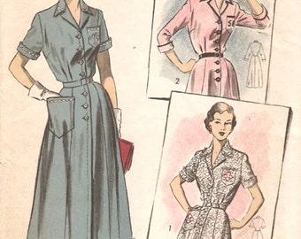Great Vintage 1950s Advance 777 Pfaff Notched Collar Shirtwaist Dress, Shirtdress Sewing Pattern B34