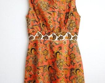 Vintage 1970s Batik Dress /Orange