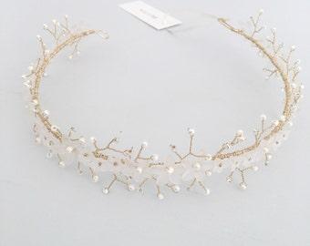 Wedding Hair Vine, Pearl Wedding Hair Vine, Floral Wedding Hair vine, Pearl Hair Crown, Bridal Hair Vine Gold,  Bridal Crown, Hair Crown
