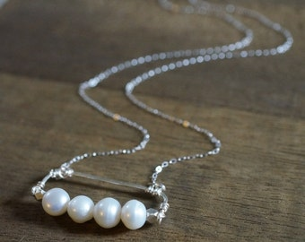 Minimalist Necklace - Fresh Water Pearl Necklace - Delicate Sterling Silver, Row of Pearls necklace, Bridal pearl necklace - Bridesmaid gift