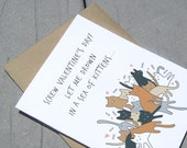 Cat Anti Valentine Card, Sea of Kittens, Cats, Valentines