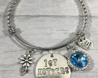 Mother's Day Jewelry, First Mother's Day Gift, Birth of First Child, Stackable Bangle, Charm Bracelet, Mother's Day