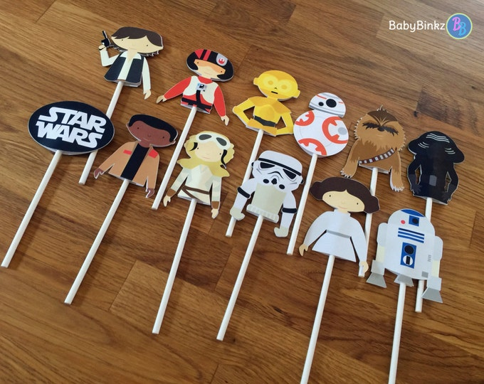 Cupcake Toppers: The Star Wars Set - party wedding birthday jedi force BB8 R2D2 CP3O Rey Leia storm trooper awakens