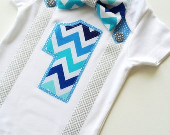 Boys First Birthday Party Silver, Blues & Aqua Chevron Bow Tie and Suspenders Onesie All In One One Piece Bodysuit