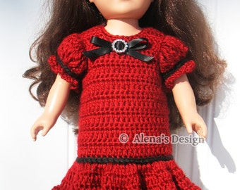 Crochet Pattern 151 Holiday Doll Dress American Doll Crochet Patterns 18 inch Dolls Outfit Clothing Red Doll Dress Christmas Gift for Girl