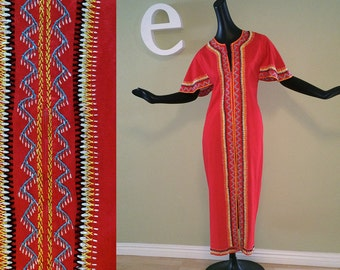 Vintage Ethnic Embroidered Maxi Dress Bright Red Caftan Kaftan 1950s 1960s 1970s Hippie Boho Festival Flutter Angel Sleeve Mexican Style Sm