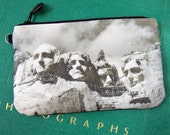 Cosmetic Bag with Vintage Photograph of Mt Rushmore, c. 1940