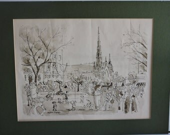 Vintage Aaron Sopher Lithograph, Charles Street Association, Baltimore, Home Decor,Wall Hanging