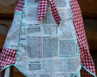 Tulip Half Apron, Vintage Style Half Apron, Red Gingham, Print, Black, White, Red, Teal