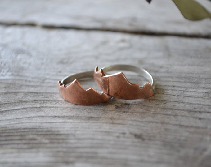 mountain stacking ring, copper mountain jewelry, mountain range ring, .925 sterling silver jewelry, gifts for nature lover, fall jewelry