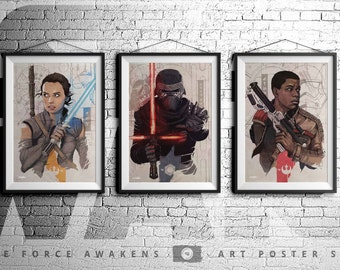 STAR WARS - The Force Awakens - Rey - Finn - Kylo Ren - Original Art Poster Set