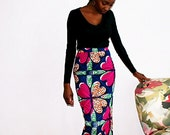 Fully lined African print midi pencil skirt (pink floral)