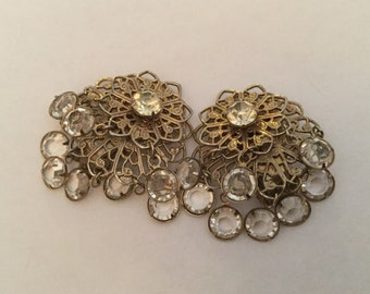 Vintage Earrings Clip on Open Back Crystal Glass Filigree Dangle
