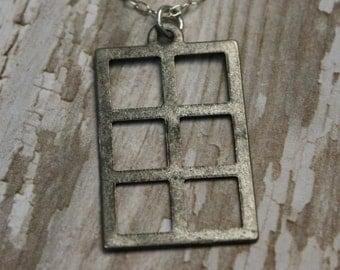CLEARANCE SALE- Geometric Charm Necklace- Gate Necklace- Upcycled Charm Necklace- Sterling Silver Necklace- Geometric Rectangle Charm