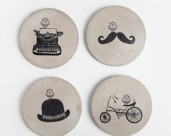 Concrete Coasters- Ubiquitous Owl Series, Bird, Bikes, Typewriter, Moustache, Wedding Gift, Housewarming Gift, Functional Art, Gift under 50