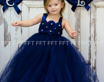 Navy Blue Flower Girl Tutu Dress