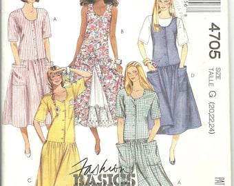 McCalls Pattern 4705 Misses Womens Drop Waist Jumper Dress (20-24) UNCUT