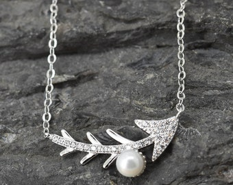 Fishbone Necklace, Fishbone Pendant, Fishbone Jewelry, 925 Sterling Silver, Crystal Necklace Pendant, Bridesmaid Gift,Bridesmaid Necklace