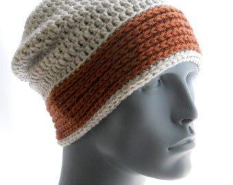 CROCHET PATTERN: The Hi-Lo Slouchy and Beanie for Men, Hat Pattern, Instant Download PDF