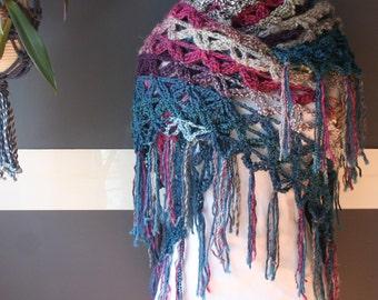 Crochet Triangle Shawl,Knit Shawl,Crochet Scarf,Knit Scarf,Wrap,Stole,Flower Of Life,Gypsy Clothing,Womens Clothing,Purple,Pink,Blue,Fringe