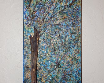 Rustic Blue Abstract Art Nature Whimsical Mixed Media Acrylic Tree Landscape 12x24x1,5 Gallery Wrapped Canvas - Sherischart