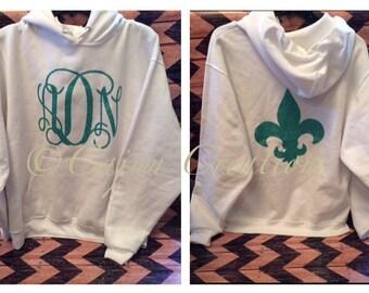 Monogram hoodie, Personalized hoodies, fleur de lis on back, custom hoodies, name gifts, monogram gifts for women, monogram clothing,glitter