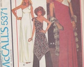 1976 Disco Fabulous One Shoulder Evening Gown or Tunic and Wide Leg Pants Vintage Pattern, McCalls 5371 Quick and Easy Knits, Sassy Tie Neck