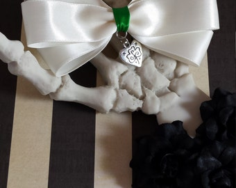 Satin Ribbon Hair Bow-Off White Hair Bow-St. Patrick's Day Hair Bow- Lolita Hair Bow