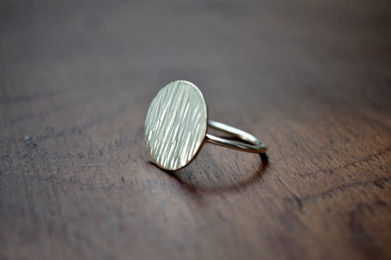 Sterling Silver Ring, Moon Ring, Textured, Circle, Modern, Contemporary, Minimal