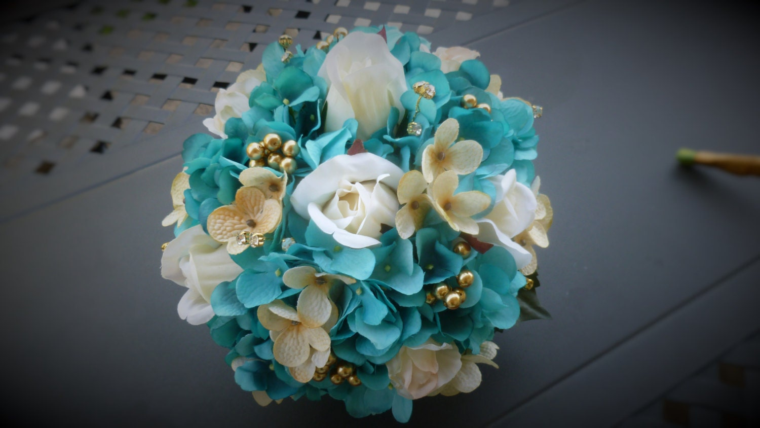Turquoise gold chamapgne bridal bouquet with ivory roses zoom dhlflorist Gallery