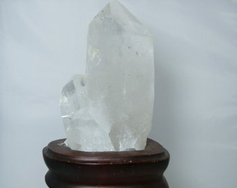 Clear Quartz Crystal Terminated Twinned with a Fitted Wooden Base 2.34 Pounds 6.5 inches Tall Collectible Cabinet Mineral Specimen or Gift