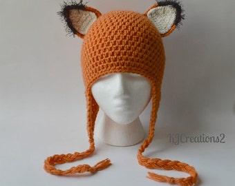 Adult size-SALE-Fox hat-Handmade earflaps FOX HAT