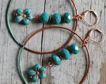Big Bohemian Hoop Earrings Copper Turquoise Flowers Verdigris