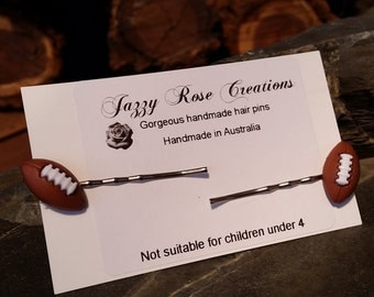 Football Hair Pins,  football Bobby Pins, hair Accessories, footy Hair Pin, Cute Hair Accessories, rugby Hair Pins,  Bobby