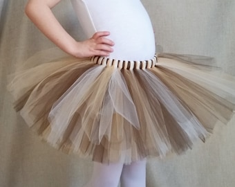 Brown, Ivory, and Gold Tutu, Natural Colors Tutu, Gold Tutu, Brown Tutu, Baby Shower Gift
