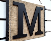 Monogram Letter Wall Hanging  - Letter M Wall Decor - 3D Letter Burlap Sign - Initial Sign - Modern Rustic Sign - Any letter A-Z
