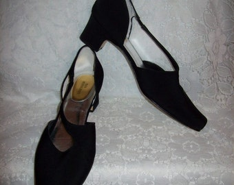 Vintage Ladies Black Satin Cross Strap Pumps by Ros Hommerson Size 10 Only 8 USD