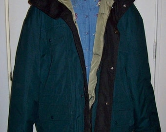 Vintage Men's Green Goose Down Insulated Winter Coat by Cabela's Extra Large Only 35 USD