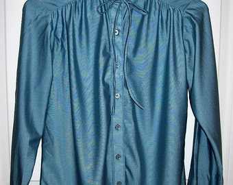 Vintage Ladies Blue Qiana Satin Blouse by Gailord Size 10 Only 8 USD