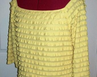 SAlE 40% Off Vintage Ladies Yellow Ruffled Flamenco Top Medium Now 3 USD