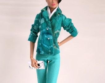 Blue Pant Suit for Barbie Silkstone Fashion Royalty Dolls